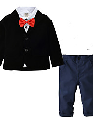 cheap -Kids Toddler Boys' Suit & Blazer Black & White Solid Colored Long Sleeve Print Birthday Party Party & Evening Black Basic Regular Regular