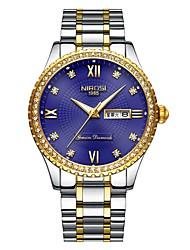 cheap -Men's Dress Watch Wrist Watch Japanese Japanese Quartz Stainless Steel Silver / Gold 30 m Water Resistant / Waterproof Calendar / date / day Cool Analog Classic Fashion - Golden Silver / Blue
