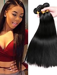 cheap -3 Bundles Brazilian Hair Straight Human Hair Unprocessed Human Hair Headpiece Natural Color Hair Weaves / Hair Bulk Extension 8-28 inch Natural Color Human Hair Weaves Soft Silky Best Quality Human