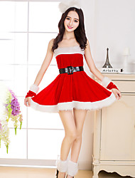 cheap -Cosplay Costume Santa Clothes Adults' Women's Christmas Christmas New Year Festival / Holiday Plush Fabric Terylene Red Women's Carnival Costumes Holiday / Dress / Gloves / Leg Warmers / Hair Band