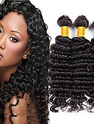cheap -3 Bundles Brazilian Hair Deep Wave Human Hair Unprocessed Human Hair Headpiece Natural Color Hair Weaves / Hair Bulk Hair Care 8-28 inch Natural Color Human Hair Weaves Waterfall Life Creative Human