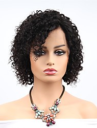 cheap -Remy Human Hair Full Lace Lace Front Wig Asymmetrical Rihanna style Brazilian Hair Curly Afro Curly Natural Black Wig 130% 150% Density with Baby Hair Soft Women Easy dressing Best Quality Women's