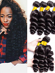 cheap -4 Bundles Loose Wave Human Hair Unprocessed Human Hair 400 g Natural Color Hair Weaves / Hair Bulk Bundle Hair One Pack Solution 8-28 inch Natural Color Human Hair Weaves Odor Free New Arrival Hot