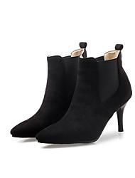 cheap -Women's Boots Stiletto Heel Closed Toe Suede / Microfiber Fall Black / Wine / Yellow