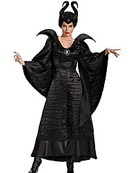 cheap -Witch Maleficent Dress Cosplay Costume Hat Adults' Women's Christmas Halloween Carnival Festival / Holiday Polyster Black Women's Carnival Costumes Solid Color / Headwear / Brooch / Brooch / Headwear
