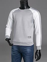 abordables -Homme Col Arrondi Manches Longues Sweatshirt Bloc de Couleur