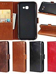 cheap -Case For Samsung Galaxy A5(2018) / A3(2017) / A5(2017) Wallet / Card Holder / with Stand Full Body Cases Solid Colored Hard Genuine Leather