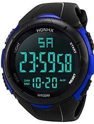 Недорогие -Муж. Спортивные часы электронные часы Цифровой Кольцеобразный Защита от влаги Цифровой Белый Черный Синий / Два года / Стеганная ПУ кожа / Японский / Календарь / Секундомер