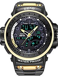 Недорогие -Муж. Спортивные часы электронные часы Японский Цифровой Стеганная ПУ кожа Черный / Синий / Зеленый 30 m Защита от влаги Календарь Секундомер Аналого-цифровые Блестящие Мода -  / Два года / Хронометр