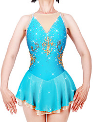 cheap -21Grams Figure Skating Dress Women's Girls' Ice Skating Dress Sky Blue Spandex Stretch Yarn High Elasticity Professional Competition Skating Wear Handmade Fashion Sleeveless Ice Skating Winter Sports
