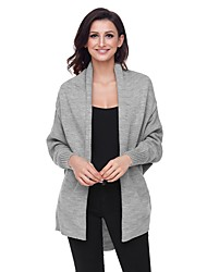 cheap -Women's Daily Street chic Solid Colored Long Sleeve Loose Regular Cardigan, Shirt Collar Fall / Winter Cotton Wine / Army Green / Khaki L / XL / XXL / High Waist