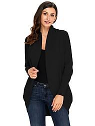 abordables -Femme Quotidien Chic de Rue Couleur Pleine Manches Longues Ample Normal Cardigan, Col Roulé Automne / Hiver Coton Chameau / Vin / Kaki L / XL / XXL / Taille haute