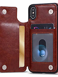 cheap -Case For Apple iPhone XS / iPhone XR / iPhone XS Max Card Holder / with Stand Back Cover Solid Colored Soft PU Leather