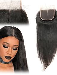 Недорогие -Laflare Бразильские волосы 4x4 Закрытие Прямой Средняя часть Средняя часть Швейцарское кружево человеческие волосы Remy Жен. Мягкость / Лучшее качество / Новое поступление / Для темнокожих женщин