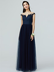cheap -A-Line Illusion Neck Floor Length Lace / Tulle Bridesmaid Dress with Lace / Pleats