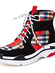 cheap -Women's Sneakers Wedge Heel Round Toe Satin Casual / Preppy Walking Shoes Fall & Winter Black / Beige / Color Block