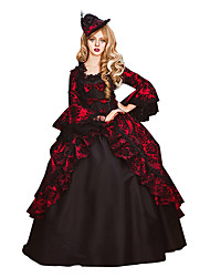 cheap -Rococo Victorian 18th Century Dress Party Costume Masquerade Women's Lace Cotton Costume Red Vintage Cosplay Party Prom Long Sleeve Floor Length Long Length Ball Gown Plus Size Customized / Floral