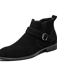 cheap -Men's Suede Shoes Suede Fall & Winter Casual Boots Height-increasing Booties / Ankle Boots Color Block Black / Fashion Boots
