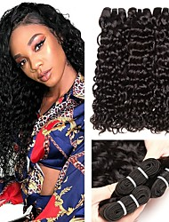 cheap -3 Bundles Malaysian Hair Water Wave Human Hair Unprocessed Human Hair Natural Color Hair Weaves / Hair Bulk Hair Care Extension 8-28 inch Natural Color Human Hair Weaves Silky Extention Best Quality