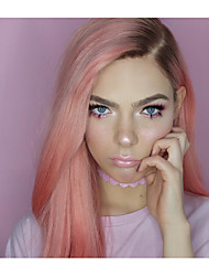 cheap -Virgin Human Hair Remy Human Hair Full Lace Wig Middle Part Side Part With Ponytail Kardashian style Brazilian Hair Natural Straight Silky Straight Pink Wig 130% Density with Baby Hair Soft Natural