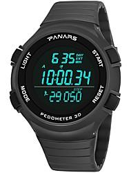Недорогие -Муж. Спортивные часы электронные часы Японский Цифровой силиконовый Черный / Серый 30 m Защита от влаги Календарь С двумя часовыми поясами Цифровой Мода - Черный Серый / Хронометр / Фосфоресцирующий