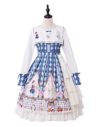 cheap -Victoria Style Sweet Lolita Dress Girls' Female Japanese Cosplay Costumes Blue Bowknot Lace Bishop Sleeve Long Sleeve Knee Length
