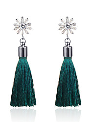 cheap -Women's Drop Earrings Tassel Ladies Korean Platinum Plated Austria Crystal Earrings Jewelry Black / Light Red / Green For Daily 1 Pair