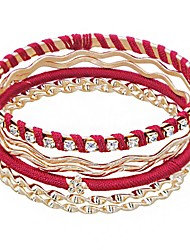 cheap -Women's Bracelet Bangles Layered Lucky Ladies European Ethnic Cord Bracelet Jewelry Gold For Daily Holiday / Rhinestone