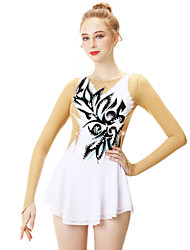 cheap -21Grams Figure Skating Dress Women's Girls' Ice Skating Dress White Patchwork Spandex Stretch Yarn Lace High Elasticity Professional Competition Skating Wear Handmade Fashion Long Sleeve Ice Skating
