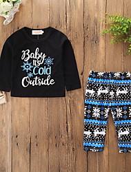 cheap -Baby Boys' Active / Basic Christmas / Daily Print Print Long Sleeve Regular Cotton Clothing Set Black / Toddler