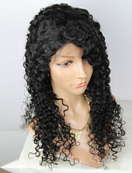cheap -Virgin Human Hair Remy Human Hair Lace Front Wig Layered Haircut Middle Part Side Part style Brazilian Hair Deep Curly Natural Wig 180% Density with Baby Hair Soft Natural Natural Hairline African