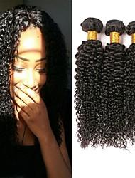 Недорогие -3 Связки Перуанские волосы Кудрявый Kinky Curly Натуральные волосы Необработанные натуральные волосы Человека ткет Волосы Уход за волосами Удлинитель 8-28 дюймовый Естественный цвет / 8A