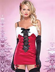 Недорогие -униформы Костюм Новогоднее платье Санта-одежда Взрослые Старшая школа Жен. Платья Рождество Рождество Хэллоуин Карнавал Фестиваль / праздник Спандекс Полиэстер Красный Карнавальные костюмы