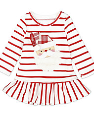 cheap -Baby Girls' Active Christmas Striped Long Sleeve Knee-length Dress White / Toddler