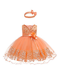 cheap -Baby Girls' Active / Basic Party / Birthday Solid Colored Lace Sleeveless Asymmetrical Cotton Dress Orange