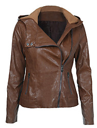 cheap -Women's Shirt Collar Faux Leather Jacket Regular Solid Colored Daily Basic Brown S M L XL / Work