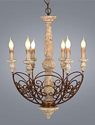 Недорогие -6-ламповая промышленная люстра из светлого дерева, дерева / бамбука, бамбука, новый дизайн 110-120 В / 220-240 В