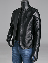 cheap -Men's Daily / Weekend Fall Regular Leather Jacket, Solid Colored Stand Long Sleeve PU Blue / Black / Wine