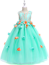cheap -Princess Maxi Pageant Flower Girl Dresses - Organza / Tulle / Satin Chiffon Sleeveless Jewel Neck with Petal / Appliques / Tiered