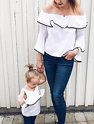 cheap -Mommy and Me Basic Daily Solid Colored Long Sleeve Clothing Set White