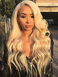 cheap -Human Hair Lace Front Wig Asymmetrical Kardashian style Indian Hair Body Wave Golden Blonde Wig 130% Density with Baby Hair Classic Natural Best Quality Hot Sale Women's Medium Length Human Hair Lace