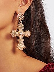 cheap -Women's Drop Earrings Hanging Cross Earrings Classic Cross Ladies Classic Rhinestone Earrings Jewelry Gold For Daily 1 Pair
