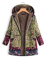 cheap -Women's Floral Regular Parka, Wool Blend Blue / Green S / M / L