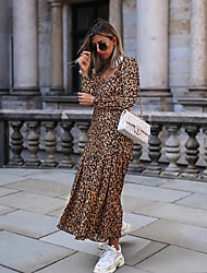 cheap -Women's Daily Party Casual Sexy Maxi Abaya Dress - Leopard High Waist V Neck Brown M L XL