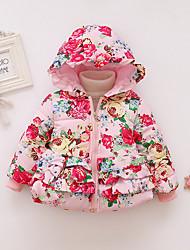 cheap -Baby Girls' Active Print Long Sleeve Regular Down & Cotton Padded Blue / Toddler