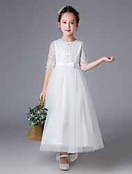cheap -Princess Ankle Length Wedding / First Communion Flower Girl Dresses - Polyester Half Sleeve Jewel Neck with Lace