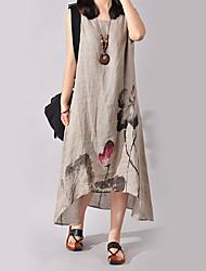 cheap -Women's Floral Plus Size Weekend Chinoiserie Asymmetrical Dress - Floral Print Summer Cotton Wine White Blue S M L XL / Loose