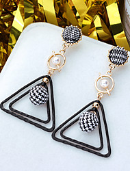 cheap -Women's Drop Earrings Classic Ladies European Pearl Gold Plated Earrings Jewelry Black For Daily 1 Pair