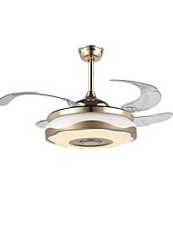 abordables -QINGMING® Ventilateur de plafond Lumière d'ambiance Plaqué Métal LED, Contrôle Bluetooth 110-120V / 220-240V Bayadère