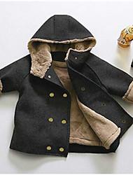 abordables -Enfants Garçon Actif Quotidien Couleur Pleine Manches Longues Normal Veste & Manteau Noir